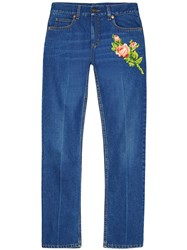 Gucci Embroidery Jeans Blue