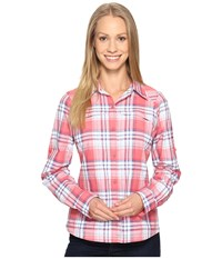 Columbia Silver Ridge Plaid L S Red Camelia Dobby Plaid Women's Long Sleeve Button Up