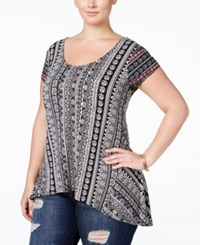 American Rag Trendy Plus Size Printed T Shirt Only At Macy's Classic Black Combo