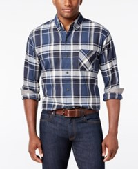 Weatherproof Vintage Men's Big And Tall Plaid Flannel Shirt Navy