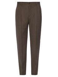 Giorgio Armani Pleated Flannel Wool Trousers Grey