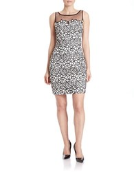 Aidan Mattox Crochet Overlay Dress Black Ivory