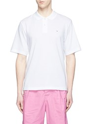 Acne Studios 'Falco Face' Emoticon Embroidered Patch Polo Shirt White