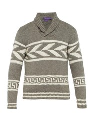 Ralph Lauren Purple Label Intarsia Knit Cashmere Sweater Grey