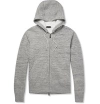 Tom Ford Knitted Cotton Blend Zip Up Hoodie Gray