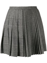 Ermanno Scervino Houndstooth Pleated Mini Skirt Black