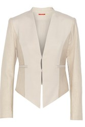 Alice Olivia Textured Leather Paneled Crepe Jacket Beige