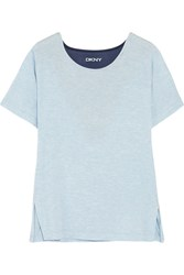 Dkny Blue Note Mesh Paneled Stretch Modal T Shirt Light Blue