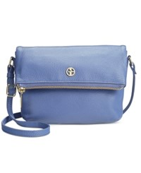 Giani Bernini Pebble Leather Zipper Mini Flap Crossbody Bright Chambray