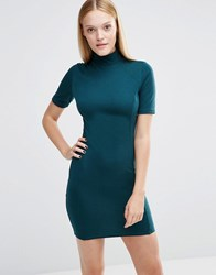 Ax Paris High Neck Bodycon Dress Teal Green