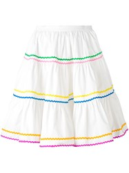 Anna October Gathered Flared Skirt Women Cotton S White