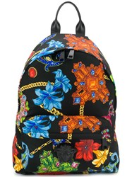 Versace Barocco Mix Print Backpack Black