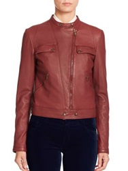 Tomas Maier Leather Moto Jacket Dark Red