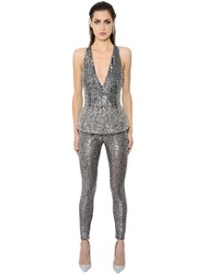 Zuhair Murad Embroidered Peplum Tulle Jumpsuit
