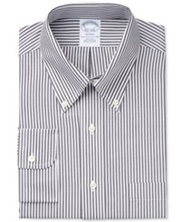 Brooks Brothers Men's Regent Classic Regular Fit Non Iron Black Striped Dress Shirt Bengal Stripe Black