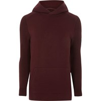 River Island Dark Red Ribbed Knit Sleeve Slim Fit Hoodie