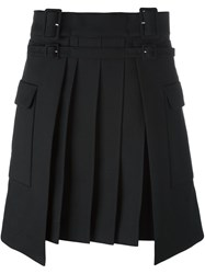 Carven Pleated Knee Length Skirt Black