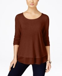 Styleandco. Style Co. Chiffon Hem Top Only At Macy's Rich Auburn