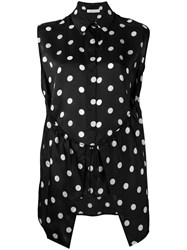 Christian Wijnants Polka Dot Patterned Top Women Silk 42 Black