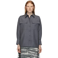 Ports 1961 Grey Mohair And Wool Long Sleeve Shirt