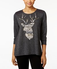 Styleandco. Style Co. Deer Graphic Crochet Trim Top Only At Macy's Deer Steel Grey