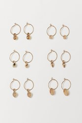 Handm H M 6 Pairs Hoop Earrings Gold