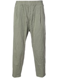 Casey Casey Creased Cropped Trousers Green
