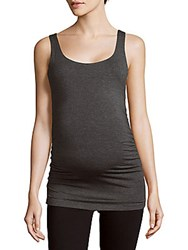 Rosie Pope Textured Scoopneck Maternity Tee Charcoal Heather
