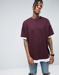 Asos Super Oversized T Shirt In Heavyweight Jersey With Half Sleeve And Contrast Trim Oxblood Red