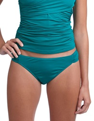 Badgley Mischka Shirred Hipster Swim Bottoms Green