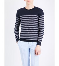 John Smedley Rubra Striped Cotton Jumper Navy White