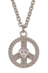 Judith Ripka Sterling Silver Peace Sign Heart Charm Necklace Beige