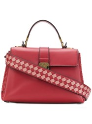 Bottega Veneta Intrecciato Panelled Tote Red