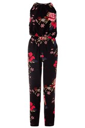 Quiz Black And Red Floral Print Jumpsuit Black