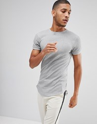 Bellfield Waffle T Shirt In Muscle Fit With Curved Hem Grey