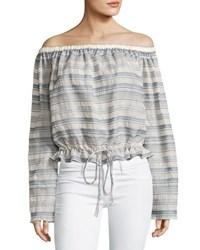 Theory Odettah Vall Striped Off The Shoulder Top Shell Multicolor