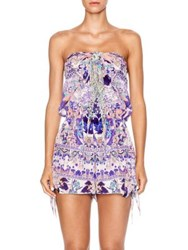 Camilla Chinese Whispers Still Life Silk Tie Front Playsuit