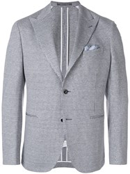 Cantarelli Houndstooth Print Suit Jacket White