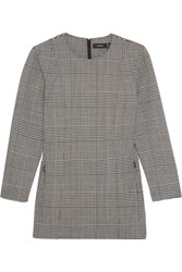 Theory Laurent Prince Of Wales Checked Stretch Wool Top Gray
