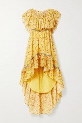 Loveshackfancy Alexia Ruffled Tiered Floral Print Cotton Voile Dress Yellow