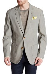 Flynt Babbitt Tan Micro Check Two Button Notch Lapel Blazer Blue