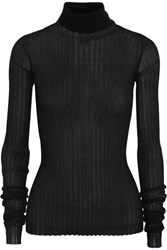 Bottega Veneta Ribbed Cotton Blend Turtleneck Sweater Black