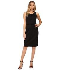 Christin Michaels Merla Sleeveless Pleated Ponte Dress Black Women's Dress