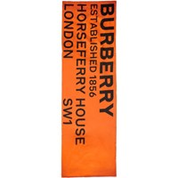 Burberry Orange Silk Puffer Logo Scarf