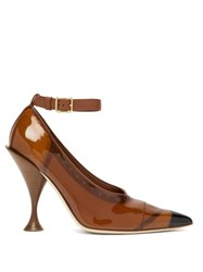 Burberry Evan Pvc Coated Leather Pumps Brown