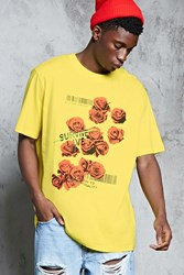 Forever 21 Rose Graphic Print Tee Yellow Red