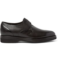Santoni Shearling Lined Full Grain Leather Derby Shoes Dark Brown