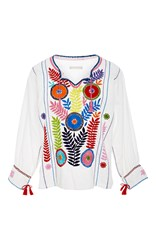 Santa Lupita Fertility Embroidered Peasant Shirt White