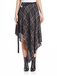 Public School Danen Plaid Wool Blend Skirt Grey