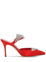 Manolo Blahnik 90Mm Lurum Swarovski Satin Mules Red